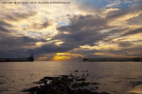 North Sea Sunrise Framed Mounted Print by Jim Jones