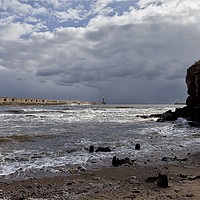 Buy canvas prints of Storm clouds at the river mouth by Jim Jones