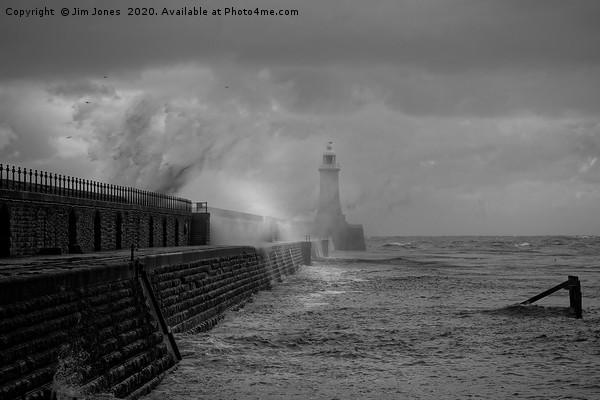 Storm over Tynemouth Pier Canvas print by Jim Jones