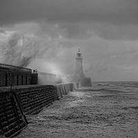 Buy canvas prints of Storm over Tynemouth Pier by Jim Jones