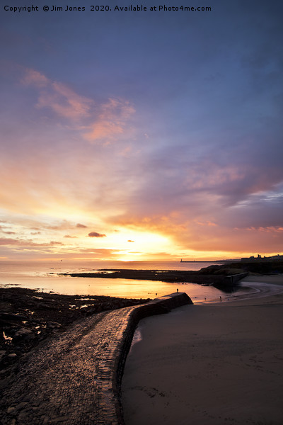 December Sunrise over Cullercoats Bay Canvas print by Jim Jones