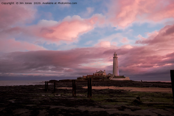 Pink and Blue sunrise at St Mary's Island Canvas Print by Jim Jones