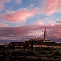 Buy canvas prints of Pink and Blue sunrise at St Mary's Island by Jim Jones