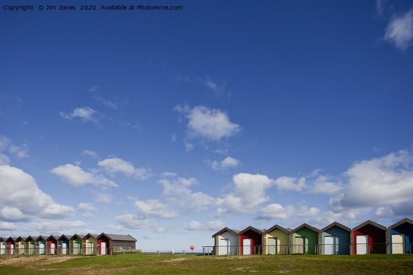 Big Blue Sky and Beautiful Blyth Beach Huts Acrylic by Jim Jones