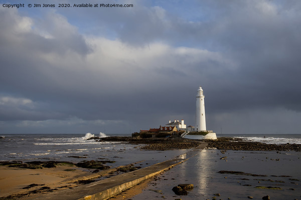 St Mary's Lighthouse lit up in sunshine Canvas Print by Jim Jones