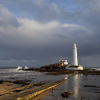Buy canvas prints of St Mary's Lighthouse lit up in sunshine by Jim Jones
