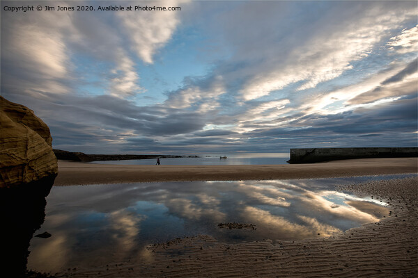 Reflections in Cullercoats Bay Canvas Print by Jim Jones