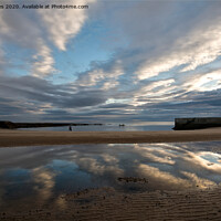 Buy canvas prints of Reflections in Cullercoats Bay by Jim Jones
