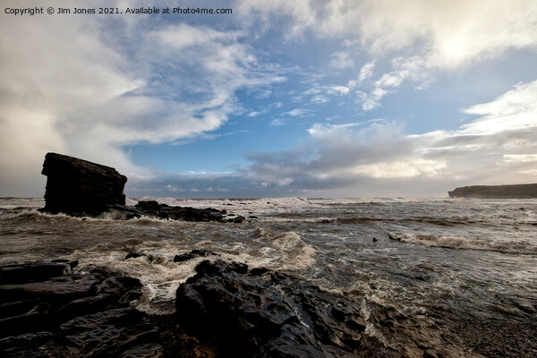 Collywell Bay storm  Canvas Print by Jim Jones