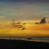 Buy canvas prints of Puka Beach Sunset by Adrian Evans
