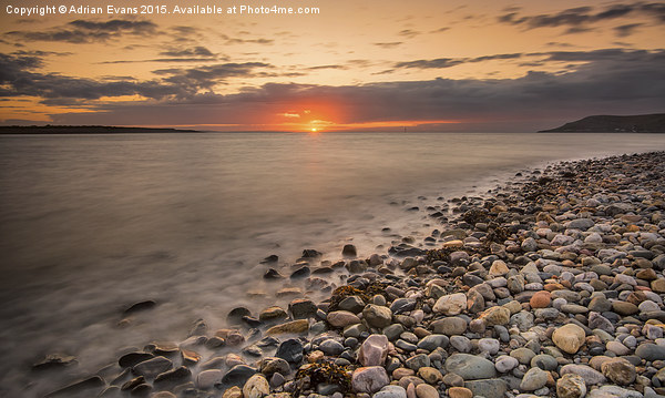 Sunset Deganwy Beach Canvas print by Adrian Evans