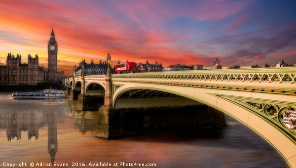 London City Sunset Framed Mounted Print by Adrian Evans