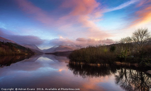 Padarn lake Llanberis Sunset  Acrylic by Adrian Evans