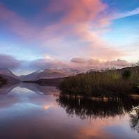 Buy canvas prints of Padarn lake Llanberis Sunset  by Adrian Evans