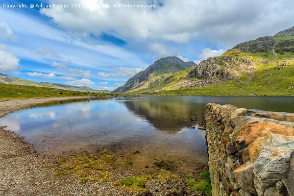 Idwal Lake Snowdonia Print by Adrian Evans