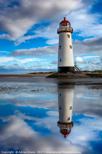 Talacre Lighthouse Reflection Print by Adrian Evans