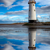 Buy canvas prints of Talacre Lighthouse Reflection by Adrian Evans