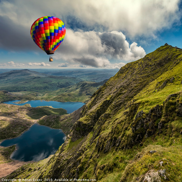 Snowdon Hot Air Balloon Canvas print by Adrian Evans