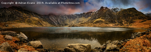 Idwal Lake Winter Sunset Print by Adrian Evans