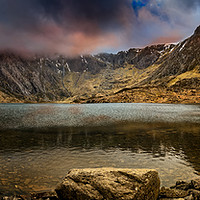 Buy canvas prints of Idwal Lake Winter Sunset by Adrian Evans