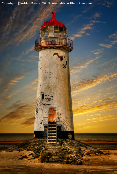 Point of Ayr Lighthouse Sunset Canvas print by Adrian Evans