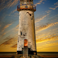Buy canvas prints of Point of Ayr Lighthouse Sunset by Adrian Evans