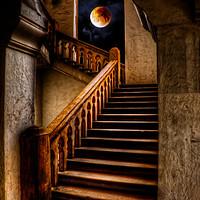 Buy canvas prints of KTM Stairway Moon by Adrian Evans