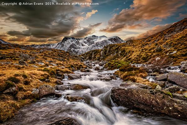 Cwm Idwal Snowdonia Sunset Canvas print by Adrian Evans