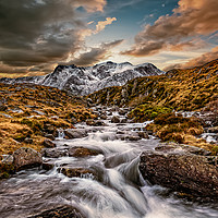 Buy canvas prints of Cwm Idwal Snowdonia Sunset by Adrian Evans