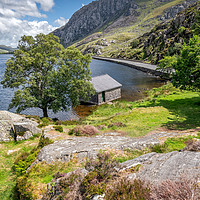 Buy canvas prints of Lake Ogwen and Tryfan Mountain by Adrian Evans