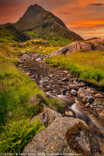 Tryfan Mountain East Sunset Snowdonia Canvas print by Adrian Evans