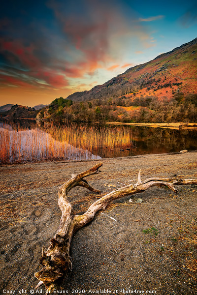 Lake Gwynant Sunset Snowdonia Wales Canvas print by Adrian Evans
