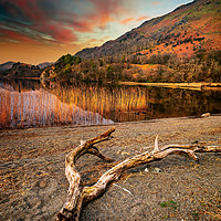 Buy canvas prints of Lake Gwynant Sunset Snowdonia Wales by Adrian Evans