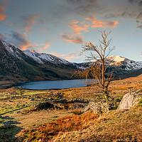 Buy canvas prints of Ogwen Lake Sunset Snowdonia by Adrian Evans