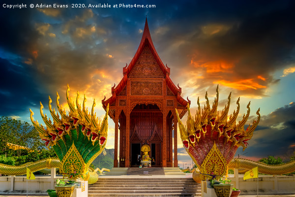 Temple Sunset Thailand Canvas print by Adrian Evans