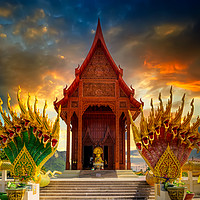 Buy canvas prints of Temple Sunset Thailand by Adrian Evans