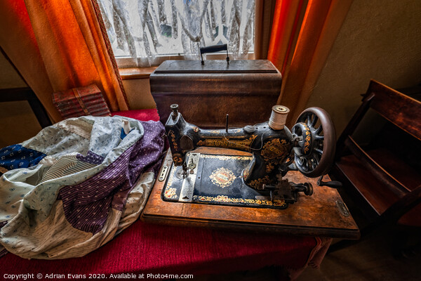 Vintage Jones Family Sewing Machine Acrylic by Adrian Evans