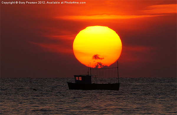 Sunset Fishing Boat Silhouette Canvas print by Gary Pearson