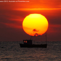 Buy canvas prints of Sunset Fishing Boat Silhouette by Gary Pearson