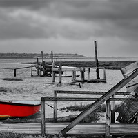 Buy canvas prints of The red rowing boat! by Gary Pearson