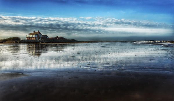 Brancaster beach and golf club Framed Mounted Print by Gary Pearson