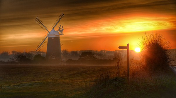 Burnham Overy Staithe windmill #1 Framed Mounted Print by Gary Pearson