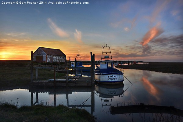 Sunset over Thornham harbour Framed Mounted Print by Gary Pearson