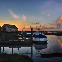 Buy canvas prints of Sunset over Thornham harbour by Gary Pearson