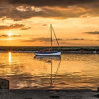 Buy canvas prints of The Avocet at sunset - Burnham Overy Staithe  by Gary Pearson