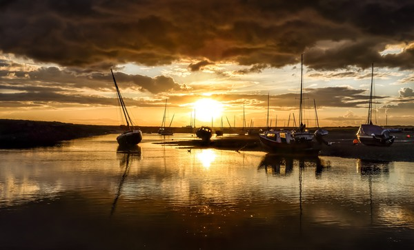 Sunset after the rain - Brancaster Staithe Canvas print by Gary Pearson