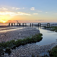 Buy canvas prints of Sunset over the old jetty at Snettisham  by Gary Pearson