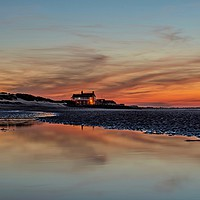 Buy canvas prints of Sunset reflections on Brancaster beach by Gary Pearson
