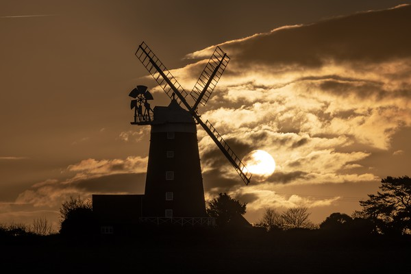Burnham Overy Staithe mill at sunrise  Canvas print by Gary Pearson