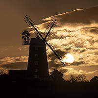 Buy canvas prints of Burnham Overy Staithe mill at sunrise  by Gary Pearson